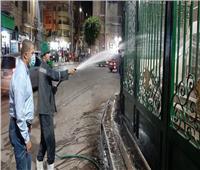 رئيس مدينة دمنهور يقود حملةنظافة وغسيل أرصفة ميدان مسجد التوبة   صور
