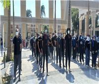 وزير التعليم العالي يشهد تحية العلم مع طلاب جامعة عين شمس| فيديو