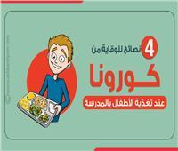 انفوجراف | 4 نصائح للوقاية من كورونا عند تغذية الأطفال بالمدرسة