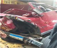 إصابة شخصين في سقوط سيارة من أعلى محور صفط اللبن | صور