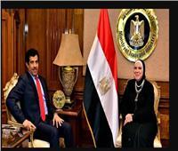 وزيرة التجارة والصناعة تستقبل السفير القطري بالقاهرة