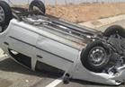 إصابة 3 أشخاص إثر حادث انقلاب سيارة على طريق أبو شروف بسيوه