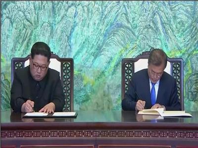 زعيما كوريا الشمالية والجنوبية