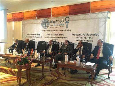 جانب من المشاركين في المنتدى الاقتصادي لمصر واليونان وقبرص