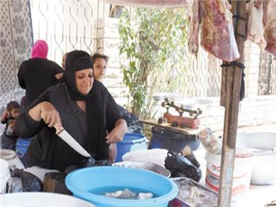 أم كريم أشهر جزارة بمنطقة السيدة زينب