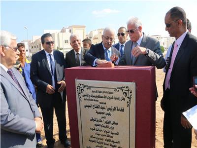 وزير التربية والتعليم ومحافظ جنوب سيناء يضعا حجر أساس المدرسة