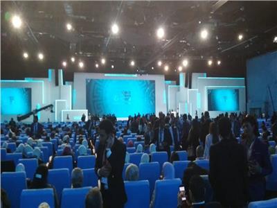 قاعة منتدى شباب العالم تستعد لحفل الختام