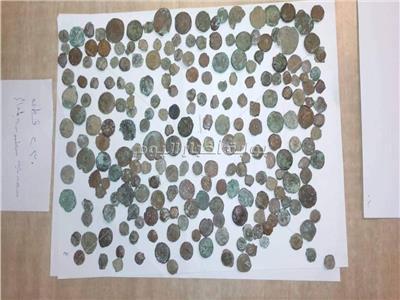 جانب من العملات الأثرية التي تم ضبطها مع الراكب الأمريكي