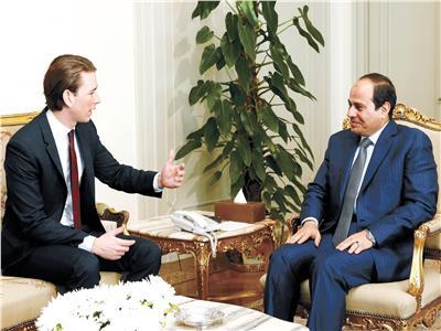 الرئيس السيسي في لقاء مع مستشار النمسا