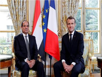 الرئيس السيسي والرئيس الفرنسي ماكرون