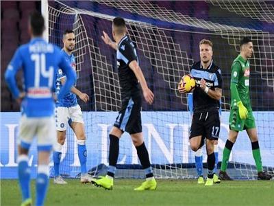 لحظة فرحة لاعبي نابولي بهدف الفوز