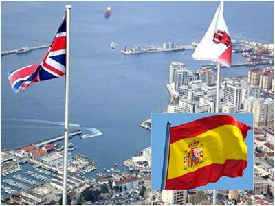 أعلام جبل طارق وإسبانيا وبريطانيا