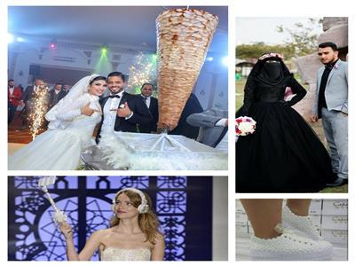 «فستان زفاف أسود وعامود شاورما».. أحدث تقاليع الأفراح
