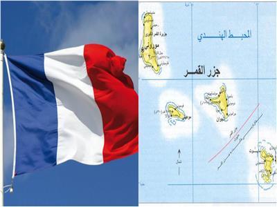 خريطة جزر القمر وعلم فرنسا