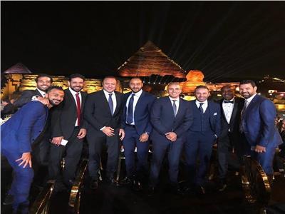 نادر السيد مع نجوم منتخب مصر في حفل القرعة