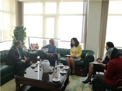 وزير المالية خلال اجتماعه مع سفيرة بلجيكا بالقاهرة