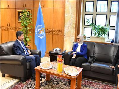 جانب من لقاء وزيرة الصحة ومدير منظمة الصحة العالمي لإقليم شرق المتوسط