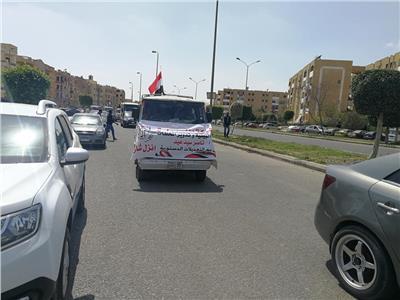 مسيرة بالسيارات تجول مدينة الشيخ زايد لتاييد التعديلات الدستورية