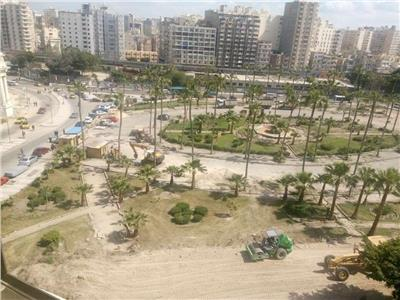 أعمال تطوير حديقة الإسعاف بالإسكندرية