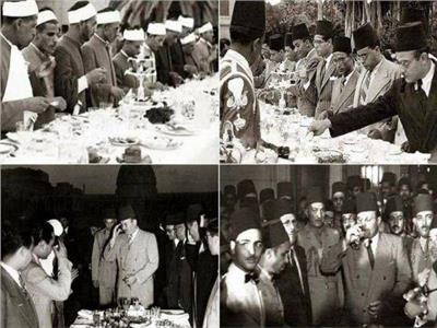 صورة أرشيفية - الملك فاروق أثناء الفطار في رمضان