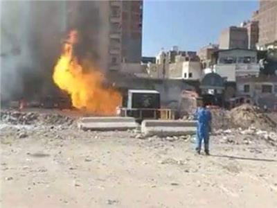 حريق في ماسورة غاز بمنطقة كرموز بالإسكنرية