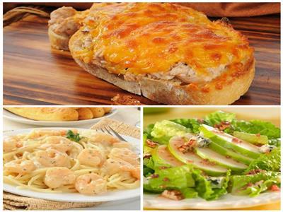 مكرونة بالجمبري والكريمة - خبز بالتونة والجبنة