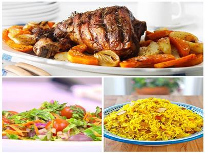 فطارك عندنا   فخدة ضاني بالخضار - الأرز العربي - سلطة خضراء
