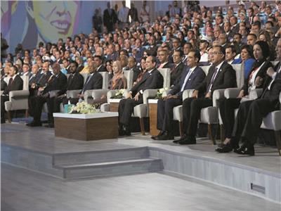 الرئيس السيسي خلال الجلسة الافتتاحية للمؤتمر