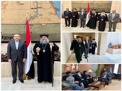 الأنبا بيتر يزور مقر السفارة المصرية بأمريكا