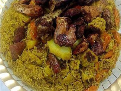 مقلوبة اللحمة بالأرز البسمتي والخضار