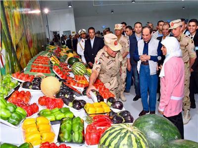 الرئيس السيسي يتفقد منتجات الصوب الزراعية بقاعدة محمد نجيب