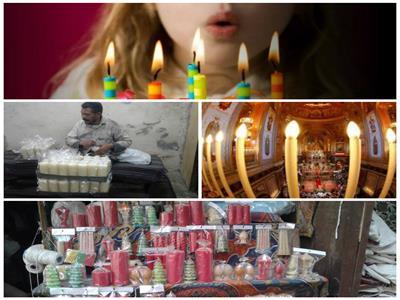 «قيدوا شمعة يا أحبة ونورولي».. حكايات شموع الكنائس وأعياد الميلاد ورحلة الصناعة- صورة مجمعة