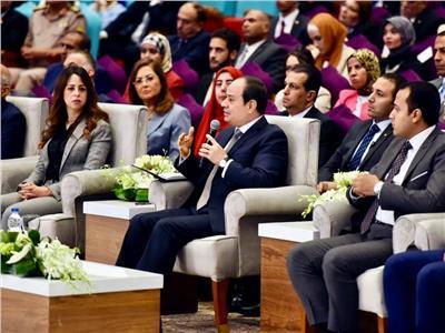 جانب من مشاركة الرئيس السيسي في جلسات المؤتمر الثامن للشباب