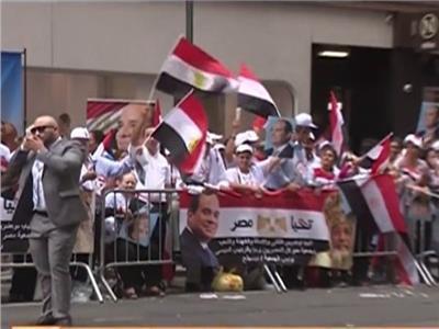 الجالية المصرية بنيويورك تنظم وقفات تأييد للرئيس السيسي