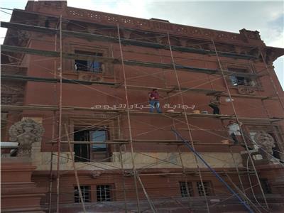 الواجهة بعد ازالة المياه قصر البارون إمبان بمصر الجديدة