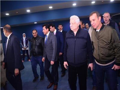 مرتضى منصور وأشرف صبحي يتفقدان الصالات الدولية للكاراتيه والجودو