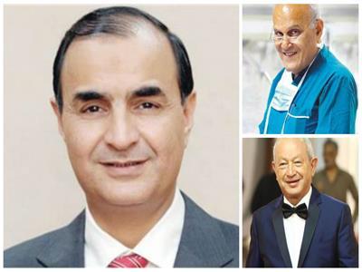 الكاتب الصحفي محمد البهنساوي وفي الإطار الدكتور مجدي يعقوب والمهندس نجيب ساويرس
