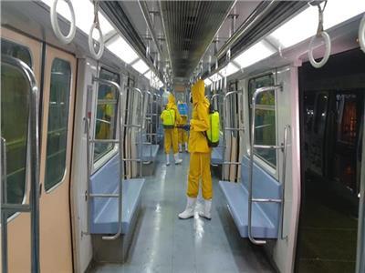 استمرار عمليات تعقيم قطارات مترو الأنفاق للوقاية من كورونا