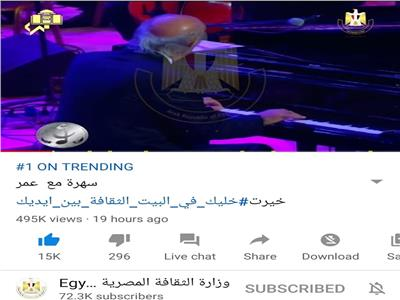قناة الثقافة المصرية تحقق التريند الاول على اليوتيوب