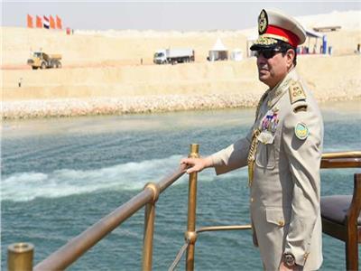 الرئيس السيسي خلال افتتاح قناة السويس الجديدة
