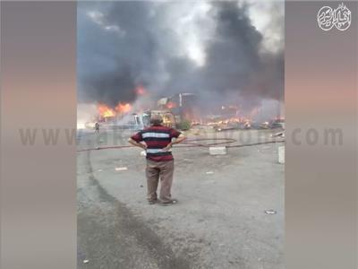 حريق ضخم بسوق توشكى بحلوان