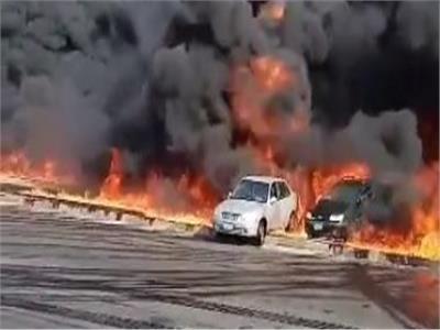 حريق خط بترول طريق مصر الإسماعيلية