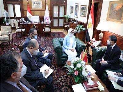 جانب من اجتماع وزيرة الصحة مع السفير الصيني