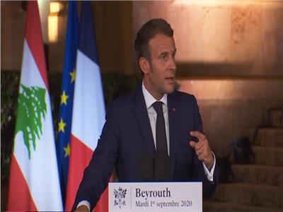 الرئيس الفرنسي خلال مؤتمر صحفي بالعاصمة اللبنانية بيروت