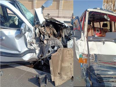 سيارة نصف نقل تتسبب في حادث كارثي علي طريق كوبري القبة