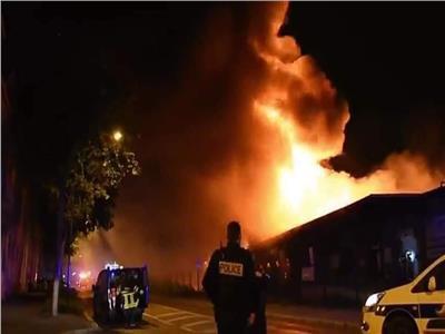 صورة من حريق بميناء لو هافر الفرنسي