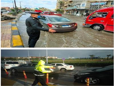 تواجد مكثف لرجال الشرطة لمواجهة الأمطار