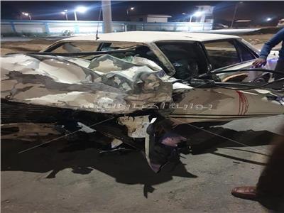 السيارة الملاكي تهشمت في الحادث