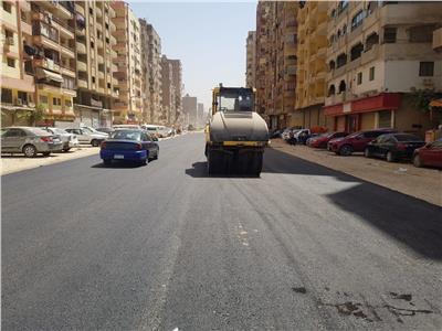 استكمال تطوير شارع الزعيم السادات في الطالبية بالجيزة