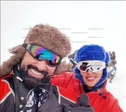 بالصور| رومانسية سمية الخشاب وأحمد سعد على الثلوج